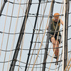 Newburyport:Bounty crew member Haley Grimes climbs the rigging as the ship sits along the Newburyport waterfront. Jim Vaiknoras/staff photo