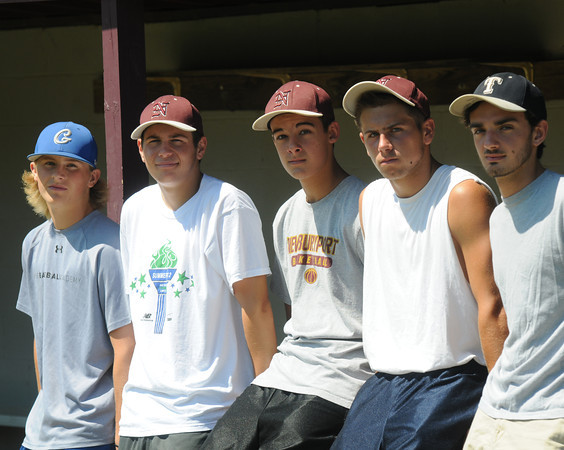 Newburyport: Colby Ingraham, Colby Morris,Connor MacRea, Colton Fontaine, and Demitri Hunt will be Bay State Games baseball team. Jim Vaiknoras/staff photo