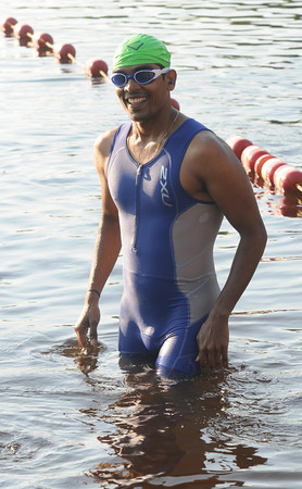 Amesbury: Subbu Venkatesh get ready to train in Lake Gardner for Saturday's triathlon which will be his first. Jim Vaiknoras/staff photo