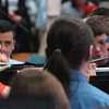 """Byfield: Triton graduating senior band members joined their underclassmen musicians for the last time in an instrumental selecation """"Chesford Portrait."""" Bryan Eaton/Staff Photo"""