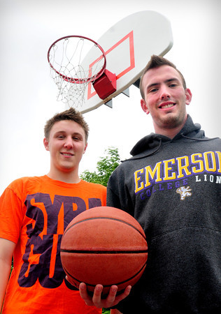 Newburyport: Evan Petty, left, and Nick Welch will be running a basketball clinic this summer at Cashman Park. Bryan Eaton/Staff Photo