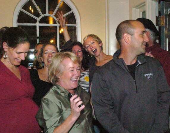 Newburyport: Members of the Port Pride campaign celebrate at David's Restaurant on Tuesday night. Bryan Eaton/Staff Photo