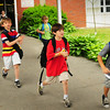 Amesbury: Youngsters bolt out the doors on their way to awaiting school buses at Amesbury Elementary School yesterday morning. It was the last day of school in the Amesbury district. Bryan Eaton/Staff Photo