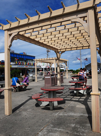 Salisbury: The Salisbury Beach Partnership has installed four of these pergolas in the beach center to provide some shade. Bryan Eaton/Staff Photo
