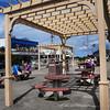 Salisbury: The Salisbury Beach Partnership has installed four of these pergolas in the beach center to provide some shade. Bryan Eaton/Staff Photo