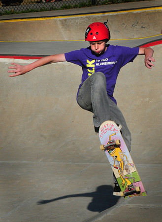 Newburyport: Brandon Ford, 15, or Orono, Maine goes up a ramp at the Newburyport Skateboard Park during a Skate Fest yesterday afternoon, a fundraiser for the park to make repairs. Ford was visiting friends from the area who go to the park. Bryan Eaton/Staff Photo