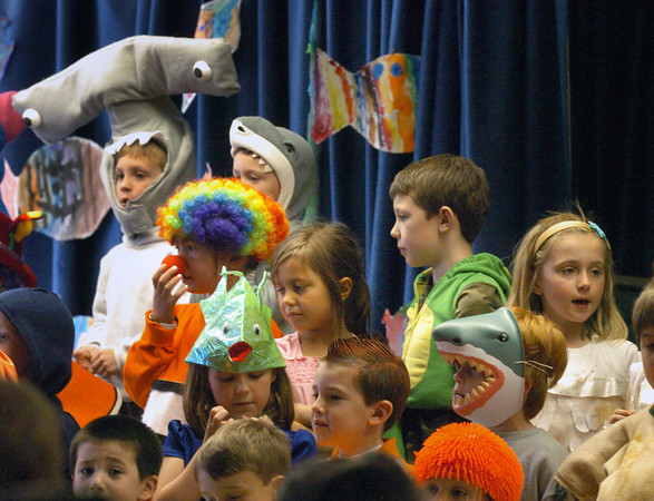 "Amesbury: First-graders at the Amesbury Elementary School perform the play ""Go Fish"" for their parents on Wednesday afternoon. The children have been learning about life in the Earth's oceans. Bryan Eaton/Staff Photo"