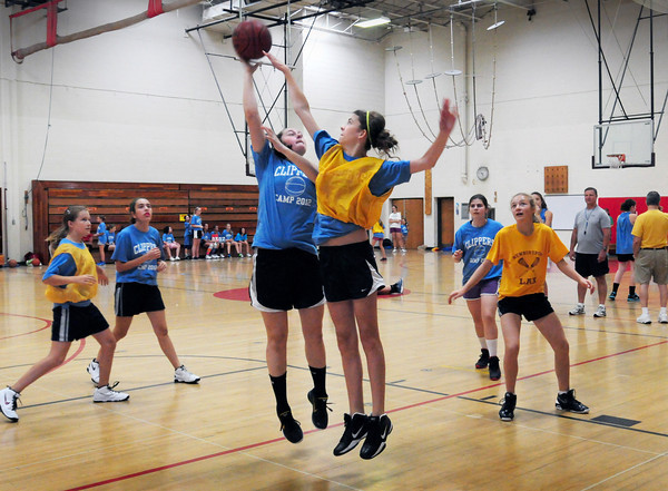 Newburyport: Clipper girls basketball camp works out at the Nock Middle School yesterday. Bryan Eaton/Staff Photo