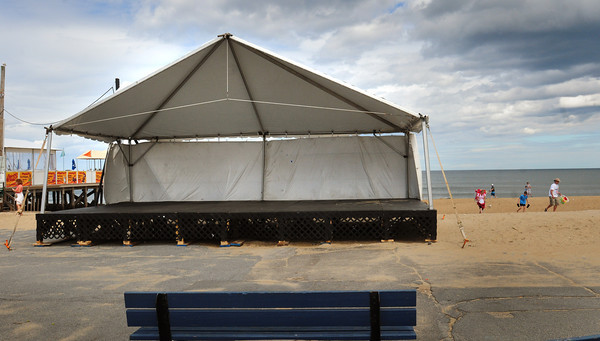 Salisbury: The music stage was erected yesterday at the end of Broadway at Salisbury Beach in time for the Sand and Sea Festival this weekend. Bryan Eaton/Staff Photo