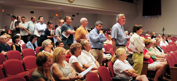 Newburyport: There was a continuous line for much of the evening as people waited to state thier opinions on the proposed Local Historical District for Newburyport last night at a hearing at Newburyport High School. Bryan Eaton/Staff Photo