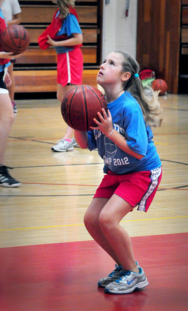 Newburyport: Olivia Oren, 9, practices her foul shots during the Clipper girls basketball camp. Bryan Eaton/Staff Photo