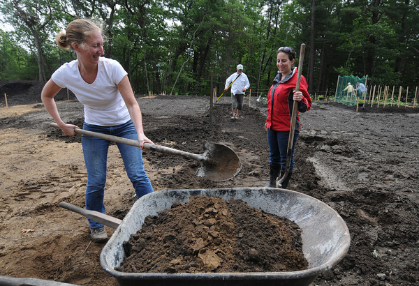 Salisbury: Lisa Pearson shovels soils with Leah Hill and Robert Campbell at he new commuity garden in Salisbury. Jim Vaiknoras/staff photo