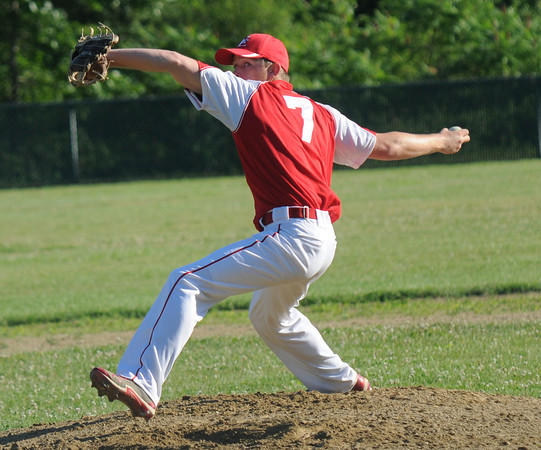 Rowley: Tim Cashman pitches against Gloucester Post 3 during their game at Eiras Field in Rowley Thursday night. Jim Vaiknoras/staff photo