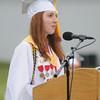Amesbury:Salutatorian Hannah Schalck speaks at Amesbury high graduation at Landry Stadium Friday night. Jim Vaiknoras/staff photo