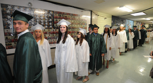 West Newbury:Pentucket senior walk the halls of their school for the last time as student at the Pentucket Commencement Saturday.. Jim Vaiknoras/staff photo