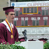 Newburyport:Valadictorian Ryan Campbell speaks at the Newburyport High Graduation Ceremony at War Memorial Stadium  Sunday. jim Vaiknoras/staff photoa