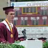 Newburyport:Valadictorian Ryan Campbell speaks at the Newburyport High Graduation Ceremony at War Memorial Stadium  Sunday. jim Vaiknoras/staff photoa
