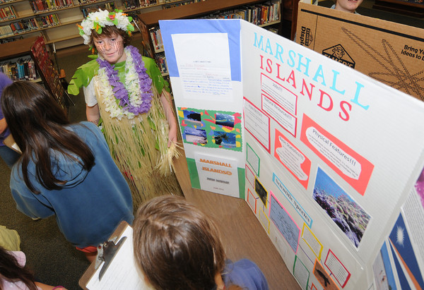 "Newburyport: Sixth grader Ben Hendricks  talks about "" his country"" The Marshall Islands, at the Second annual International Expo at the Nock Middle School. Jim Vaiknoras/staff photo"