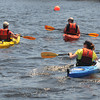 Newbuiryport : A trio of kayakers head down river on the Merrimack Sunday afternoon. Jim Vaiknoras/staff photo