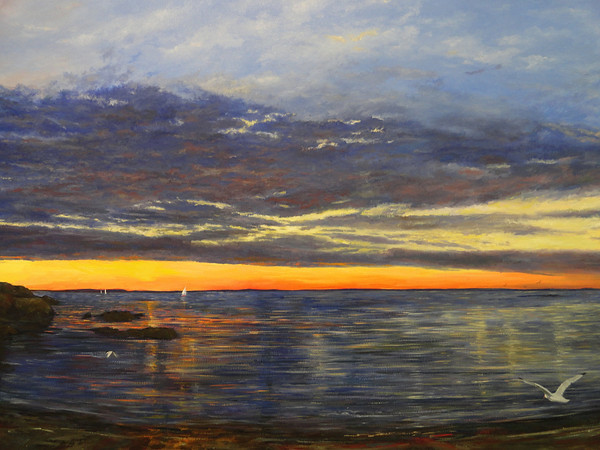 """Being by the Ocean"" paintings by Patricia Doherty will be at the Hills Gallery at the Newburyport Art Association, 65 Water Street, Newburyport, MA. The one woman show runs from July 1-14. The gallery hours are Monday through Saturday 11 a.m.- 5 p.m. and Sunday 1-5 p.m. The reception is on Saturday, July 7 , 7-9 p.m. with refreshments and live music."