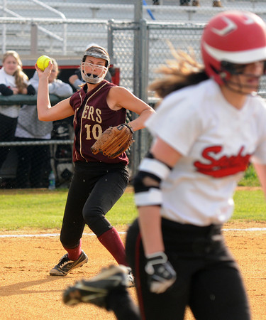 Lowell: Newburyport's Beth Castantini thows out a runner during the Clippers 2-0 loss to Winchester at Martin Field in Lowell THursday night. Jim Vaiknoras/staff photo