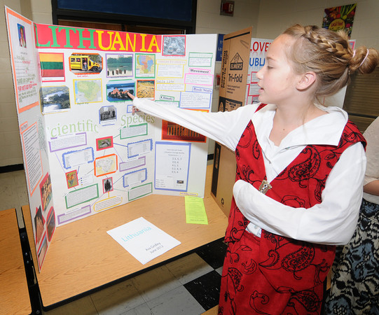 "Newburyport: Sixth grader Ava Gridley talks about "" her country"" Lithuaninia, at the Second annual International Expo at the Nock Middle School. Jim Vaiknoras/staff photo"