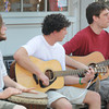 Newburyport: Greg Sheridan on drums , with James Callahan  and Randy Videyko on Guitar perform as Earth, Root, Groove, Motion, in Market Square in Newburyport Saturday. Jim Vaiknoras/staff photo