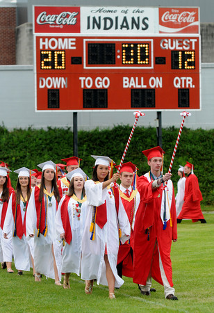 Amesbury: Meagan LaMontange and Jon Tedford lead the Amesbury high graduates into Landry Stadium Friday night. Jim Vaiknoras/staff photo