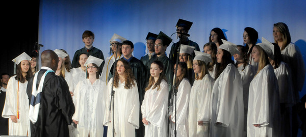 west Newbury: The Pentucket High Chorus performs the Star Spangled Banner at the Pentucket Commencement Saturday. Jim Vaiknoras/staff photo