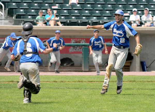 Lowell: Georgetown pitcher Ryan Browner celebrates the Royal's 5-2 victory over Northeast Metro in the Div 4 North Secional Championship at LeLacheur in Lowell Saturday. Jim Vaiknoras/staff photo