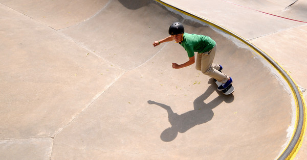 Newburyport: Noah Kolesh, 14, casts a shadow in the late afternoon at the skate park at the Nock Middle School in Newburyport. Jim Vaiknoras/staff photo