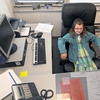 Salisbury: Emily Grace Johnson, a 3rd grader in Lisa Bissell's class, tries out the big chair during her stint as Principal of the Day at the Salisbury Elementary School Thursday. Jim Vaiknoras/staff photo