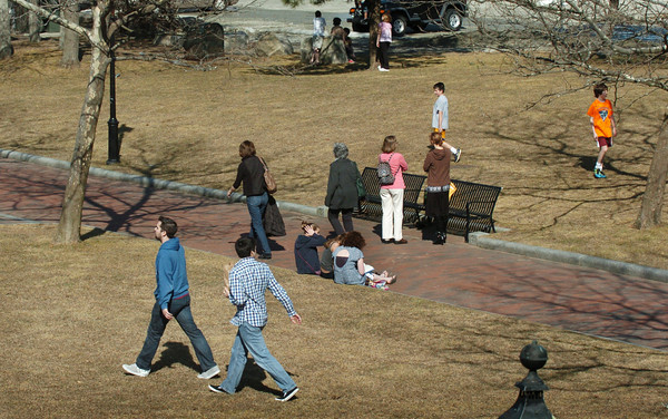 Newburyport: The grass was still brown at Newburyport's Waterfront Park, but it felt like is was green as many headed there to enjoy the unseasonably warm day. Bryan Eaton/Staff Photo