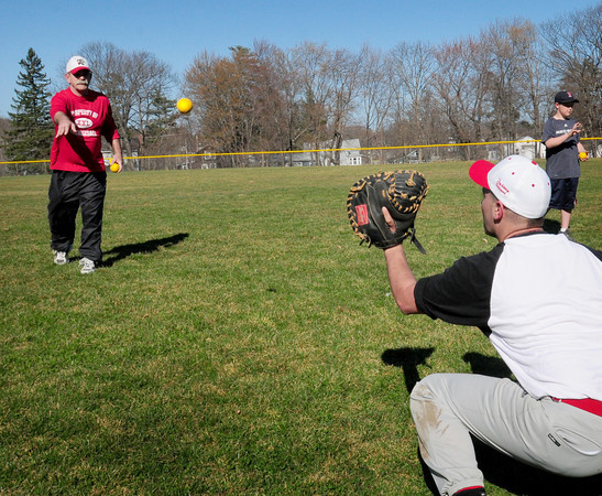 Amesbury: Amesbury High  baseball coach Gene Burnham practices with team yesterday. Bryan Eaton/Staff Photo
