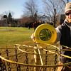 "Amesbury: Alex Heywood at Frisbee ""hole"" 17 in the Amesbury Town Park where a second basketball court was proposed, but is not going to be built. Bryan Eaton/Staff Photo"