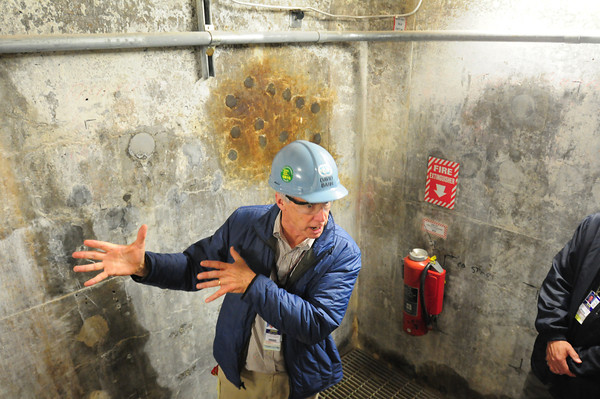 Seabrook: Educator David Barr at Seabrook Station talks about boring samples taken from the concrete below ground where the cable trays are run which carries electricity for the plant operations. Bryan Eaton/Staff Photo