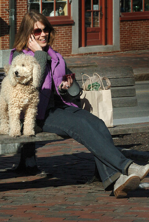 Newburyport: Kerry Stark of Newburyport spent some time in the warm weather with her dog, Teddy, in Market Square on Wednesday afternoon. Thursday is supposed to be warmer, with a little cooling on Saturday then warming up again. Bryan Eaton/Staff Photo