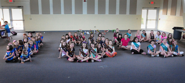 West Newbury: Girl Scouts in West Newbury met Wednesday to form the number 100 as they celebrate 100 years since the organization's founding. They also collected 100 cans of food to donate to local food pantries. Bryan Eaton/Staff Photo