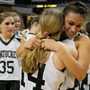 Worchester: The Pentucket's Sarah Higgins, right, hugs her teammate Nicole Viselli after the Sachem's victory over Sabis in the State Championship at the DCU arena in Worchester.Jim Vaiknoras/staff photo