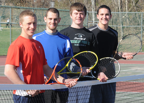 West Newbury: Pentucket tennis seniors Pat Dahn, Brandon Conn, Jimmy Beaton, and Chris Adams at the courts in West Newbury, Jim Vaiknoras/staff photo