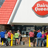 Salisbury: Warm weather brought out a crowd of people to the Dairy Queen in Salisbury Sunday afternoon. Jim Vaiknoras/staff photo