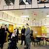 Peabody:  State Treasurer Steve Grossman, Senator Fred Berry, Superintendant Herbert Lavine and  Higgins Middle School principal Todd Bucey speak in the school library about the future if the Higgins Middle School during a tour of the school Friday morning. Jim Vaiknoras/staff photo