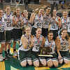 Worchester: The Pentucket High girls basketball team pose for a group photo after their victory over Sabis in the State Championship at the DCU arena in Worchester.Jim Vaiknoras/staff photo