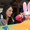 Rowley: Andrea Hicky helps out her daughter Olivia, 3, make  at the Bunny Hop at Carriage Pines in Rowley . The event was hosted by Rowley Girl Scout Troop 60566, featuring a visit from the Easter Bunny, food, face painting and arts and crafts.JIm Vaiknoras/staff photo