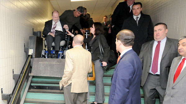 Peabody:One of the chair lifts at the Higgins Middle fails to accommodate Senator Fred Berry wheelchair during a tour of the school Friday morning. Jim Vaiknoras/staff photo