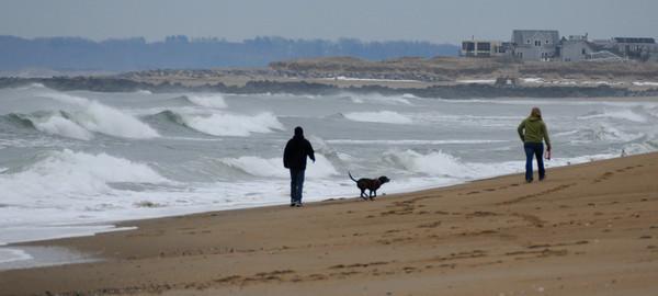 Salisbury: Two people and a dog walk a windy Salisbury Beach Sunday afternoon. Jim Vaiknoras/staff photo