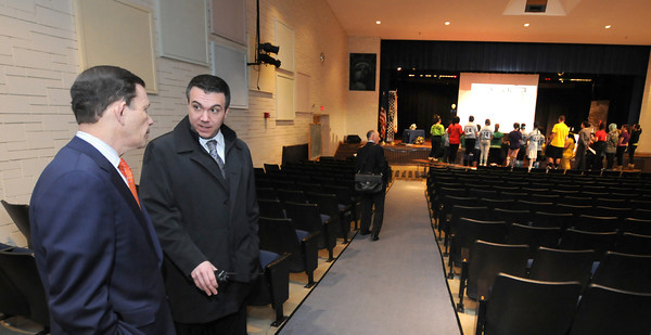 Peabody: Higgins Middle School principal Todd Bucey speak with State Treasurer Steve Grossman in the auditorium during a tour of the school Friday morning. Jim Vaiknoras/staff photo
