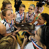 Worchester:Pentucket senior Tori Lane talks with her team mates after their victory over Sabis in the State Championship at the DCU arena in Worchester.Jim Vaiknoras/staff photo