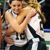Worchester: The Pentucket Kelsie McNamara hugs Sarah Wiles after the Sachem's victory over Sabis in the State Championship at the DCU arena in Worchester.Jim Vaiknoras/staff photo