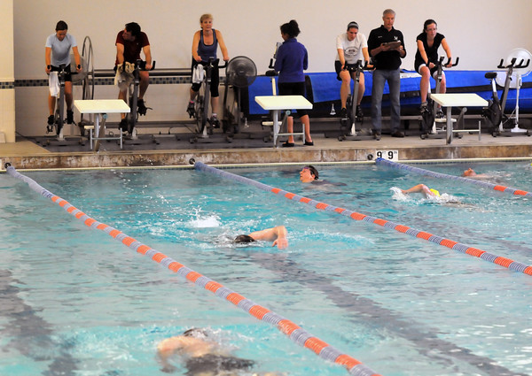 Newburyport: Swimmers and bikers compete in the Tri for the YWCA indoor triathlon at the YWCA in Newburyport Sunday morning.The 35 participants competed in a 10 minutes swim , 25 minutes on spin bike, and a 3K outdoor run. Jim Vaiknoras/staff photo